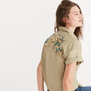 MADEWELL Embroidered Tie Front Safari Top